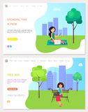 Spending Time in Park and Free Wifi Zone, Woman royalty free illustration