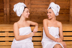 Spending time in sauna. royalty free stock photo
