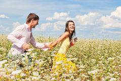 Spends time outdoors. Loving couple spends time outdoors Royalty Free Stock Photography