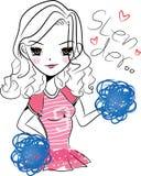 Spenslig flicka i rosa färgdräkt Arkivfoto