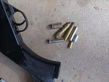 Spent Brass. Various calibers of spent rifle shell casings made of brass Stock Photos