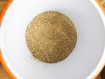 Spent Grain after mashing in a bucket from Homebrew royalty free stock images