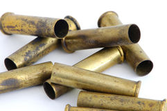 Spent magnum rifle casings. Spent corroded 22 magnum casings Stock Photo