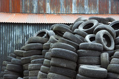 Spent rubber tires Royalty Free Stock Images