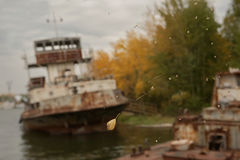 Spent rusty ships Royalty Free Stock Images