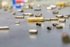 Spent shell casings. Royalty Free Stock Photos