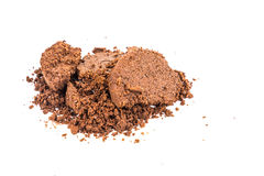 Spent or used coffee grounds on white background Stock Images