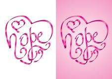 Speranza - calligrafia di figura del cuore con il nastro Immagini Stock Libere da Diritti