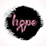 Speranza Parola ispiratrice circa consapevolezza del cancro al seno Immagine Stock