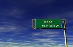 Speranza, segno dell'uscita di autostrada senza pedaggio Immagine Stock