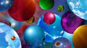 Speres de flutuação em universos múltiplos Foto de Stock Royalty Free
