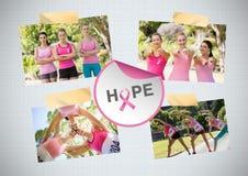 Speri il collage della foto di consapevolezza del cancro al seno e del testo ed il funzionamento di maratona Fotografia Stock