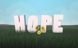 Speri per una nuova vita in accordo con le lettere della natura sull'erba 3d Fotografie Stock Libere da Diritti