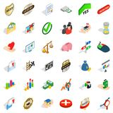 Speriority cons set, isometric style. Superiority icons set. Isometric style of 36 superiority vector icons for web isolated on white background Royalty Free Stock Photos