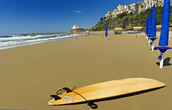 Sperlonga Beach. Surf board on Sperlonga beach, Italy Stock Photos