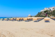 Sperlonga view, Latina, Lazio, Italy. Sperlonga beach and Torre Truglia view, province of Latina, in Lazio, central Italy. People unrecognizable Royalty Free Stock Images