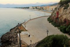 Sperlonga. Is a coastal town in the province of Latina, Italy, about halfway between Rome and Naples.   is mostly a tourist town thanks to its beaches Royalty Free Stock Photo
