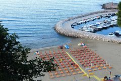 Sperlonga. Is a coastal town in the province of Latina, Italy, about halfway between Rome and Naples.   is mostly a tourist town thanks to its beaches Stock Image