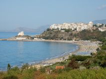 Sperlonga from the path of Ulysses. Sperlonga, Latina, Lazio, Italy - September 9, 2017: View of the old town and the coast from the path of Ulysses along the Royalty Free Stock Image