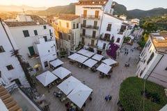 Sperlonga town center. Panoramic view of the Sperlonga main square Stock Photography