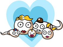 Sperm and egg family. Funny cartoon vector illustration of an egg and a sperm family Royalty Free Stock Photos