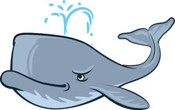 Sperm whale. Vector whale as a comic book and cartoon hero Stock Photos