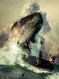 Sperm whale attack. Several sailors in a boat, throwing harpoons against a sperm whale which answers their attack Stock Image