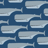 Sperm whale seamless pattern. Stock Photo