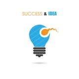 Spermasymbool en gloeilampenteken Creatief idee en succespictogram Stock Foto's