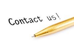 Sperren Sie ein und bringen Sie uns Meldung in Kontakt Lizenzfreies Stockfoto