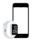 Sperren Sie Gray Apple-iPhone 6s und silbernes Apple-Uhr-Sportmodell Lizenzfreies Stockbild