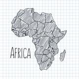 Sperren Sie Hand gezeichneten afrikanischen Kartenvektor auf Papier ein Stockbilder