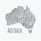 Sperren Sie Hand gezeichneten Australien-Kartenvektor auf Papier ein Stockbilder