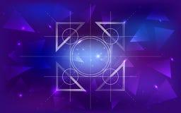 Sperren Sie Hintergrund mit einem Muster von Dreiecken, von Konstellationen, von Gitter von Kreisen und von Platz für Text Lizenzfreies Stockfoto