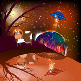 Sperren Sie Landschaft von Mars UFO-Abduktion einer Kuh Lizenzfreie Stockfotos