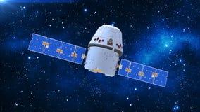 Sperren Sie Satelliten, Fernmeldesatelliten mit Kapsel und Sonnenkollektoren im Kosmos mit Sternen im Hintergrund, 3D übertragen stock abbildung