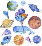 Sperren Sie Walaquarell-Fantasiewal auf dem Milchstraßesonnensystem, das blaue Rockets Planents Earth-Charakterzeichnungsillustra lizenzfreie abbildung