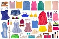 Spese generali dei vestiti e degli accessori della donna Fotografia Stock Libera da Diritti