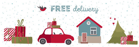 Spesial圣诞节交付传染媒介例证 免版税库存图片