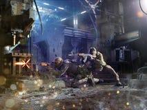 Spesial força attaks dos soldados o inimigo fotografia de stock