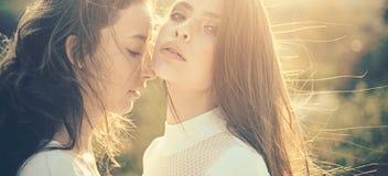 Spessore di sguardo sano Giovani donne con capelli sani Ragazze sveglie con l'acconciatura lunga Adolescenti con naturale immagine stock libera da diritti