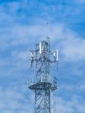 Spets för antenntorn med blå himmel Royaltyfri Fotografi