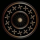 Spets- guld- rund ram på en svart bakgrund 1 Arkivfoton