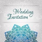 Spets- mall för vektorbröllopkort Romantisk tappningbröllopinbjudan Blom- prydnad för abstrakt cirkel stock illustrationer