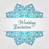 Spets- mall för vektorbröllopkort Romantisk tappningbröllopinbjudan Blom- prydnad för abstrakt cirkel Arkivbilder