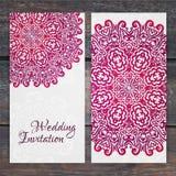 Spets- mall för vektorbröllopkort Romantisk tappningbröllopinvi stock illustrationer