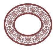 Spets- oval ram för vektorstencil med den sned openwork modellen Tem royaltyfri illustrationer
