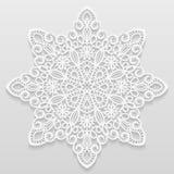 Spets- pappers- doily, dekorativ blomma, dekorativ snöflinga, mandala Arkivfoto