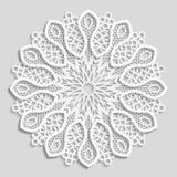 Spets- pappers- doily, dekorativ blomma, dekorativ snöflinga, mandala Royaltyfria Foton