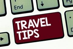 Spetsar för handskrifttextlopp Begrepp som betyder rekommendationer för en säker bekväm semester för lycklig resa royaltyfri fotografi